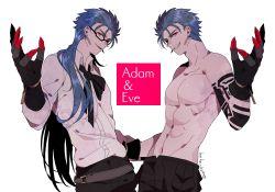 2boys adam_(nier_automata) adam_(nier_automata)_(cosplay) arm_tattoo belt blue_hair bodypaint bow claws cosplay cu_chulainn_(caster)_(fate) cu_chulainn_(fate)_(all) cu_chulainn_(fate/stay_night) dual_persona earrings eve_(nier_automata) eve_(nier_automata)_(cosplay) glasses gloves hair_down jewelry long_hair male_focus multiple_boys namahamu_(hmhm_81) nier_(series) nier_automata no_blindfold parody red_eyes sharp_teeth shirtless short_hair symmetry tattoo teeth