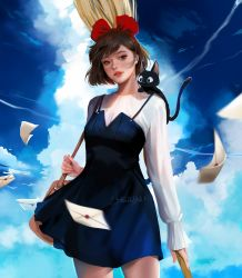 1girl alternate_costume animal animal_on_shoulder bangs black_cat blue_dress blue_sky bow breasts broom brown_eyes brown_hair cat cloud commentary condensation_trail cowboy_shot day dress english_commentary facing_viewer hair_bow jiji_(majo_no_takkyuubin) jyundee kiki letter looking_at_viewer mailbag majo_no_takkyuubin medium_breasts motion_blur older outdoors parted_lips realistic red_bow shirt short_dress short_hair sky sleeves_past_wrists standing swept_bangs teenage white_shirt  rating:Safe score:3 user:danbooru