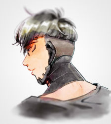 1boy apex_legends black_hair black_shirt crypto_(apex_legends) cyborg eyebrows_visible_through_hair from_behind grey_background highres husagin light_smile looking_down male_focus science_fiction shirt solo undercut upper_body