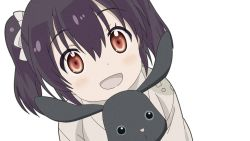 1girl animal animal_hug bangs black_hair blush bow bunny cloak commentary_request dutch_angle eyebrows_visible_through_hair from_above grey_bow grey_cloak hair_between_eyes hair_bow holding holding_animal holding_bunny kirara_fantasia light_blush looking_at_viewer medium_hair noise open_mouth red_eyes shiny shiny_hair smile solo twintails upper_body urara_meirochou watanabegenn white_background yukimi_koume