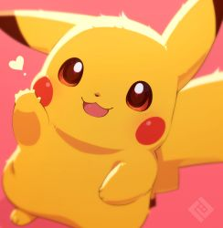 animal_ears blush commentary creatures_(company) game_freak gen_1_pokemon heart looking_at_viewer nintendo no_humans no_sclera open_mouth pikachu pokemon pokemon_(creature) red_background red_eyes simple_background smile tail tsuji  rating:Safe score:4 user:danbooru