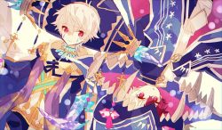 2boys armlet bangs blue_headwear blue_robe character_request eyebrows_visible_through_hair hair_between_eyes hat hibi89 jewelry looking_at_viewer male_focus merc_storia multicolored_hair multiple_boys red_eyes sash short_hair smile tagme two-tone_hair white_hair white_robe wide_sleeves wizard_hat