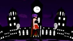 1girl animated bare_shoulders black_legwear black_panties blush bouncing_breasts breasts cape crescent crescent_hair_ornament dancing ghost glasses hair_ornament halloween halloween_costume large_breasts midriff miniskirt mp4 navel nipples no_bra panties patchouli_knowledge purple_eyes purple_hair pussy red_skirt shiny shiny_hair skirt sleeveless thighhighs thong touhou underwear undressing