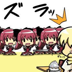 10s 6+girls blonde_hair blush_stickers cake chibi clone drill_hair drooling food fork knife magical_girl mahou_shoujo_madoka_magica muichi muichi_(agetatekoron) multiple_girls red_hair ribbon rosso_fantasma sakura_kyouko ^^^ sweatdrop tomoe_mami |_| ||_||