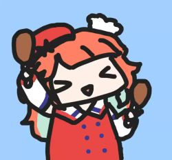 >_< 1girl animated chibi chicken_leg hat hololive hololive_english long_hair looping_animation multicolored_hair orange_hair orange_headwear smile takanashi_kiara video virtual_youtuber walfie