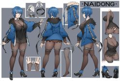 1girl arms_at_sides ass ass_cutout bangs black_dress black_footwear black_legwear blue_coat blue_eyes blue_hair blunt_bangs blush bodystocking borrowed_character breasts character_sheet cleavage closed_mouth clothes_writing clothing_cutout coat commentary_request dress feather_trim from_behind from_side full_body grey_background high_heels highres impossible_clothes large_breasts long_sleeves multiple_views open_clothes open_coat original profile puffy_long_sleeves puffy_sleeves short_hair smile thighhighs two-tone_background walking wing_collar yin-ting_tian  rating:Safe score:60 user:danbooru