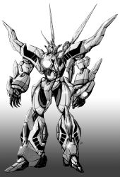 glowing glowing_eye gradient gradient_background greyscale hades_project_zeorymer highres horns looking_ahead mecha monochrome no_humans one-eyed open_hands shiny single_horn standing super_robot vzmk2 zeorymer