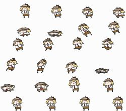6+girls absurdres blonde_hair chibi commentary deerstalker english_commentary hair_ornament hat highres hololive hololive_english lying multiple_girls multiple_views necktie on_back open_mouth plaid plaid_skirt red_neckwear shirt skirt smile sprite_sheet transparent_background virtual_youtuber walfie watson_amelia white_shirt