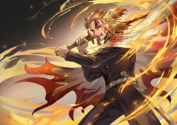 1boy belt belt_buckle black_pants bleeding blonde_hair blood blood_from_mouth blood_on_face blood_stain bloody_clothes buckle buttons cape colored_tips commentary_request embers eyebrows fire gakuran grin holding holding_sword holding_weapon injury katana kimetsu_no_yaiba long_sleeves male_focus medium_hair multicolored_hair one_eye_closed pants red_hair rengoku_kyoujurou scabbard school_uniform sheath shinomaru signature smile solo sword topknot two-tone_hair unsheathed weapon white_belt yellow_eyes