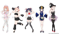 5girls :o alternate_hairstyle animal_ears animal_print arm_at_side arm_behind_head artist_name bags_under_eyes bandage bandaged_leg bandages bandeau bangs black_dress black_footwear black_hair black_headwear black_legwear black_skirt blood bloody_bandages bloody_clothes blue_dress blunt_bangs bow bowtie breasts butterfly_print cat_ears cat_paws cat_tail china_dress chinese_clothes claw_pose cleavage closed_mouth collar collarbone company_name demon_girl demon_tail detached_sleeves dress expressionless eyebrows_visible_through_hair fake_animal_ears fake_tail fang floral_print frilled_collar frills garter_straps green_eyes halloween_costume hat head_wings high_heels highres holding holding_syringe jiangshi katou_asuka kuroki_tomoko legs_crossed light_brown_hair logo long_hair looking_at_viewer looking_to_the_side low_twintails mary_janes medium_breasts multiple_girls navel nemoto_hina nurse nurse_cap official_alternate_costume official_art ofuda open_mouth outstretched_arms paws pink_dress pink_hair pink_headwear pleated_skirt purple_eyes qing_guanmao red_bow red_footwear sample scratches see-through shirt shoes short_dress side-by-side simple_background skin_fang skirt sleeveless sleeveless_shirt smile standing standing_on_one_leg stethoscope stomach demon_girl syringe tail tamura_yuri tanigawa_nico thighhighs torn_clothes torn_dress twintails two_side_up uchi_emiri unusually_open_eyes watashi_ga_motenai_no_wa_dou_kangaetemo_omaera_ga_warui! watermark whisker_markings white_background white_shirt wide_sleeves witch_hat zombie_pose