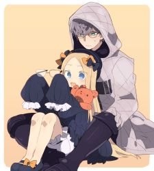 1boy 1girl abigail_williams_(fate) bangs black_bow black_dress black_footwear black_headwear blonde_hair blue_eyes blush boots bow breasts dress fate/grand_order fate/grand_order_arcade fate_(series) forehead glasses gloves green_eyes grey_hair hair_bow hat highres hood hood_up hooded_jacket jacket jacques_de_molay_(fate) karupattyo03 knee_boots long_hair long_sleeves multiple_bows open_mouth orange_bow parted_bangs polka_dot polka_dot_bow ribbed_dress sitting sleeves_past_fingers sleeves_past_wrists small_breasts smile stuffed_animal stuffed_toy teddy_bear white_bloomers white_gloves white_jacket