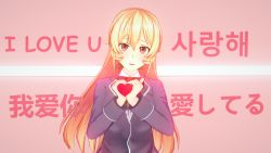heart holding holding_heart kanji nakiri_erina purple_eyes shokugeki_no_souma strawberry_blonde_hair yue_(artist)