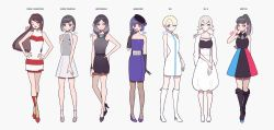 6+girls absurdres arm_behind_back bangs black_dress black_footwear black_gloves blonde_hair blue_dress blue_eyes blue_footwear blue_hair boots brown_hair dress earrings famicom full_body game_console gamecube gloves grey_background grey_eyes grey_footwear grey_hair hand_on_hip hand_up hands_on_hips hat high_heel_boots high_heels highres jewelry kisaragi_yuu_(fallen_sky) long_hair looking_at_viewer medium_hair multicolored multicolored_clothes multicolored_dress multiple_girls nintendo nintendo_64 nintendo_switch one_eye_closed original personification ponytail red_eyes red_footwear revision shoes short_sleeves signature simple_background sleeveless standing super_famicom white_dress white_footwear wii wii_u