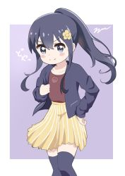 >:) 1girl aayh bangs black_hair black_jacket black_legwear blue_eyes blush_stickers brown_flower brown_shirt brown_skirt closed_mouth commentary_request eyebrows_visible_through_hair feet_out_of_frame flower hair_between_eyes hair_flower hair_ornament hand_on_hip jacket long_hair long_sleeves looking_at_viewer open_clothes open_jacket ponytail purple_background shirosaki_hana shirt sidelocks skirt sleeves_past_wrists smile solo striped thighhighs translation_request two-tone_background v-shaped_eyebrows vertical-striped_skirt vertical_stripes very_long_hair watashi_ni_tenshi_ga_maiorita! white_background