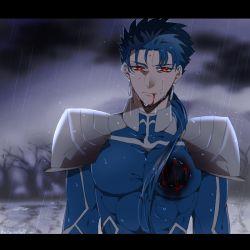 1boy blood blood_in_mouth blood_on_face blue_hair bodysuit cu_chulainn_(fate)_(all) cu_chulainn_(fate/stay_night) fate/stay_night fate_(series) hole_in_chest hole_on_body injury male_focus namahamu_(hmhm_81) ponytail rain red_eyes solo