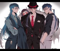 4boys blue_hair bodypaint bowler_hat cu_chulainn_(caster)_(fate) cu_chulainn_(fate)_(all) cu_chulainn_(fate/stay_night) cu_chulainn_alter_(fate/grand_order) dark_blue_hair earrings facepaint fate/grand_order fate_(series) formal hands_in_pockets hat highres jewelry lancer long_hair mini_cu-chan_(fate) multiple_boys multiple_persona namahamu_(hmhm_81) necktie one_eye_closed ponytail red_eyes suit tail vest waistcoat