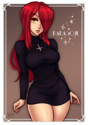 1girl 2017 artist_name black_dress breasts brown_background character_name commentary commission cowboy_shot cross cross_necklace dress english_commentary hair_over_one_eye iahfy inverted_cross jewelry lips long_sleeves looking_at_viewer necklace parasoul_(skullgirls) red_hair shiny shiny_skin skullgirls solo turtleneck yellow_eyes  rating:Safe score:7 user:fenrir_q