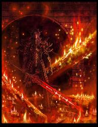1boy anima armor fire full_armor highres male_focus solo sword tattoo weapon wen-m  rating:Safe score:13 user:danbooru