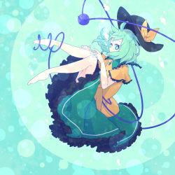 green_background green_skirt komeiji_koishi light_green mint_hair skirt solo touhou waka_(978-4)  rating:Safe score:0 user:Hyoroemon