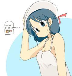 1girl blue_eyes blue_hair city_(arawi_keiichi) dress hat iwestcityi izumi_wako smile sundress  rating:Safe score:3 user:Xalrun