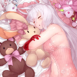 1girl absurdres animal_ear_fluff animal_ears armpit_crease babydoll bangs bare_arms bare_shoulders breasts cat_ears cat_girl cat_tail chemise doll_hug eyelashes eyes_closed hair_between_eyes highres king's_raid kirze large_breasts long_hair looking_at_viewer loungewear off_shoulder on_bed parted_lips red_eyes sideboob silver_hair sleeping solo stuffed_animal stuffed_bunny stuffed_toy stuffed_unicorn swept_bangs tail teddy_bear upper_body yu_mochi_(kamiinu)