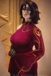 1girl absurdres black_hair breasts cinder_fall cinder_fall_(cosplay) cosplay dress female_focus highres large_breasts photo_(medium) red_dress rwby solo source_request  rating:Safe score:19 user:SadSap