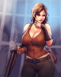 1girl absurdres bare_shoulders belt belt_buckle blurry blurry_background breasts brown_belt brown_hair brown_vest buckle buttons cait_(fallout_4) cleavage commentary curvy english_commentary erkaz fallout_(series) fallout_4 grey_pants gun highres holding holding_gun holding_weapon large_breasts lips pants parted_lips pouch short_hair shotgun sleeveless solo standing vest weapon yellow_eyes