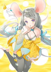 1girl animal animal_ears bangs bare_shoulders braid breasts cheese cleavage commentary_request criss-cross_halter detached_sleeves dress food grey_hair grey_legwear halterneck juliet_sleeves legs_up long_hair long_sleeves looking_at_viewer low_twintails medium_breasts mouse mouse_ears mouse_girl mouse_tail multicolored multicolored_nails nail_polish no_shoes original parted_lips puffy_sleeves purple_eyes soles solo stirrup_legwear swept_bangs tail thighhighs toeless_legwear tokki twintails very_long_hair wide_sleeves yellow_dress yellow_eyes  rating:Safe score:3 user:danbooru