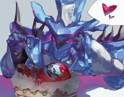 2boys armor blood blue_gloves blue_headwear breastplate cake chains checkerboard_cookie checkered checkered_headwear chikichi cookie food fork full_armor gloves glowing glowing_eyes grey_background hands_up hat head_rest heart helmet highres holding holding_fork kishiryu_sentai_ryusoulger long_sleeves male_focus multiple_boys pink_eyes ryusoul_red shoulder_armor shoulder_spikes simple_background speech_bubble spikes spoken_heart top_hat upper_body wide_sleeves wiserue  rating:Safe score:0 user:AngryZapdos