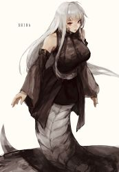1girl bare_shoulders beige_background belt black_bow borrowed_character bow character_name closed_mouth detached_sleeves english_text grey_hair half-closed_eyes highres lamia long_hair monster_girl original pink_lips red_eyes simple_background slit_pupils smile solo uglykao wide_sleeves  rating:Safe score:11 user:danbooru
