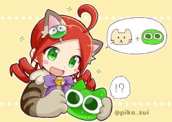 !? ahoge andou_ringo animal_costume animal_ears bangs bell blush_stickers bow bowtie cat cat_costume cat_ears drill_hair eyebrows_visible_through_hair fake_animal_ears green_eyes hair_ornament hairclip jingle_bell open_mouth parted_bangs purple_bow puyo_(puyopuyo) puyopuyo puyopuyo_quest red_hair smile sparkle speech_bubble striped takazaki_piko twin_drills twitter_username yellow_background