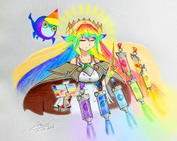 000000duck 1girl 1other ahoge blue_skirt braid dated dress duel_monster holding_object multicolored_hair palette rainbow_hair rainbow_weather_arciel sitting skirt standing the_weather_painter_rainbow traditional_media wariza watercolor_(medium) weathery_(yugioh) white_dress yu-gi-oh!  rating:Safe score:1 user:Hyoroemon
