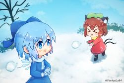 >:3 >w< 2girls blue_eyes blue_scarf bow chen cirno double_tails ferdyslab9 gloves hat highres ice ice_wings mittens mob_cap motion_blur multiple_girls paw_print scarf snow snow_boots snowball snowball_fight sweater touhou twitter_username wings yellow_scarf