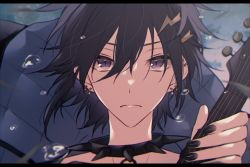 1boy black_hair black_nails closed_mouth collar ear_piercing face hair_ornament holostars kanade_izuru lightning_bolt lightning_bolt_hair_ornament looking_at_viewer male_focus nail_polish piercing purple_eyes solo spiked_collar spikes virtual_youtuber xmayo0x