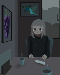 1girl animated animated_gif black_shirt coffee crying crying_with_eyes_open cup female_focus highres long_sleeves mug original peco-pech pixel_art shirt sitting solo steam table tears