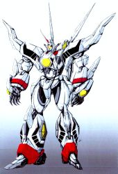 build_fighter colorized commentary english_commentary glowing glowing_eye gradient gradient_background hades_project_zeorymer highres horns looking_ahead mecha no_humans one-eyed open_hands shiny single_horn standing super_robot vzmk2 yellow_eyes zeorymer