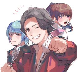 1girl 2boys arm_up asuna_(ryusoulger) bangs blue_hair blush brown_eyes brown_hair chikichi clenched_hands closed_mouth collared_shirt eyebrows_visible_through_hair from_behind grey_eyes grin hand_up happy jacket kishiryu_sentai_ryusoulger koh_(ryusoulger) long_hair long_sleeves looking_at_viewer looking_back melt_(ryusoulger) multiple_boys notice_lines one_eye_closed outline outstretched_arm pink_vest ponytail purple_eyes red_jacket shirt short_hair sidelocks simple_background sketch smile teeth tied_hair tongue upper_body v-shaped_eyebrows vest white_background white_outline white_shirt wink  rating:Safe score:0 user:AngryZapdos