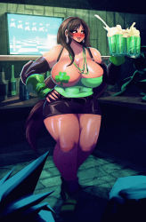 1boy 1girl 2others alcohol beer beer_mug black_skirt breasts brown_hair chocobo cleavage cloud_strife cup erect_nipples final_fantasy final_fantasy_vii highres huge_breasts long_hair mug multiple_others pasties red_eyes riendonut skirt smile square_enix st._patrick's_day tagme thick_thighs thighs tifa_lockhart