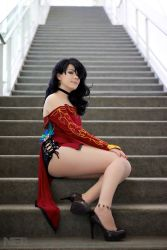 1girl ass black_hair breasts choker cinder_fall cinder_fall_(cosplay) cosplay dress high_heels long_hair photo_(medium) red_dress rwby sitting small_breasts smile solo source_request stairs thick_thighs thighs  rating:Safe score:23 user:SadSap
