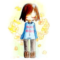 1other arms_at_sides asymmetrical_bangs bangs black_legwear blue_jumpsuit blush bob_cut boots brown_footwear brown_hair buttons closed_mouth collar colored_pencil_(medium) eyes_closed flower frisk_(undertale) highres leggings short_hair short_jumpsuit simple_background solo straight-on swept_bangs traditional_media undertale uno_usaya white_background yellow_flower
