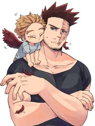 2boys :t black_shirt blonde_hair blue_eyes blue_shirt boku_no_hero_academia cheek-to-cheek child closed_mouth collarbone commentary_request crossed_arms eyes_closed facial_hair facial_mark feathered_wings feathers fingernails hawks_(boku_no_hero_academia) looking_at_another looking_to_the_side male_focus mature mature_male miso_(mimimiso) motion_lines multiple_boys muscular muscular_male nuzzle on_shoulder pectorals red_feathers red_hair red_wings scar scar_across_eye scar_on_face shedding shirt short_hair sideways_glance simple_background spiked_hair stubble sweatdrop t-shirt todoroki_enji upper_body white_background wings younger