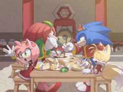 1girl 3boys :o amy_rose anger_vein animal_nose blush bracelet chinese_clothes chopsticks dress elbow_gloves eyes_closed food furry gloves green_eyes hat holding holding_chopsticks jewelry knuckles_the_echidna long_sleeves misuta710 multiple_boys red_dress restaurant rivalry sitting snout sonic_the_hedgehog sonic_(series) sonic_world_adventure sweatdrop table tails_(sonic) white_gloves