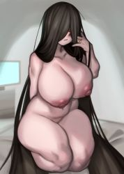 1girl areolae arm_behind_back bare_shoulders black_hair breasts collarbone curvy hair_over_eyes highres huge_breasts jewelry kelvin_hiu large_areolae long_hair looking_at_viewer nipples nude ring solo television the_ring thick_thighs thighs very_long_hair yamamura_sadako