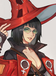 1girl absurdres black_hair breasts choker cleavage fingerless_gloves gloves green_eyes guilty_gear guilty_gear_strive hat highres i-no jacket looking_at_viewer luzzeo00 mole mole_above_mouth red_headwear red_jacket short_hair smile sunglasses venus_symbol witch_hat