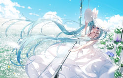 1girl animal arm_up bangs bare_arms bare_shoulders blue_eyes blue_hair blue_sky blush bug butterfly chinese_commentary closed_mouth cloud commentary day dress field flower flower_field flower_request hair_between_eyes hat hatsune_miku highres horizon insect lilac lily_(flower) long_hair looking_at_viewer outdoors plant potted_plant purple_flower qys3 revision sky sleeveless sleeveless_dress smile solo straw_hat sun_hat very_long_hair vocaloid white_dress white_flower white_headwear  rating:Safe score:8 user:danbooru