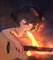 1girl bangs blind_girl_(popopoka) borrowed_character collared_shirt commentary crossed_bangs english_commentary eyebrows_visible_through_hair freckles gradient gradient_background grey_eyes guitar hair_between_eyes highres holding holding_instrument instrument klare_(klarendawn) leaf leaf_on_head looking_at_viewer multicolored multicolored_background neck_ribbon orange_ribbon original ribbon shirt short_hair sitting solo