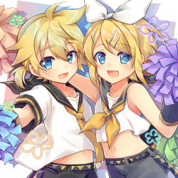 1boy 1girl arm_around_shoulder arm_warmers bangs bare_shoulders black_collar black_shorts blonde_hair blue_eyes bow brother_and_sister collar commentary_request crop_top date_pun good_twins_day hair_bow hair_ornament hairclip holding holding_pom_poms kagamine_len kagamine_rin leeannpippisum looking_at_viewer midriff navel neckerchief necktie number_pun open_mouth pom_poms sailor_collar school_uniform shirt short_hair short_ponytail short_sleeves shorts siblings side-by-side sleeveless sleeveless_shirt smile spiked_hair swept_bangs twins upper_body vocaloid white_bow white_shirt yellow_neckwear