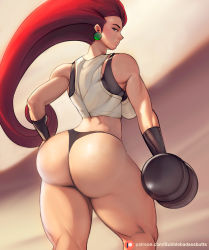 1girl artist_name ass back bare_shoulders blue_eyes breasts bubblebadassbutts creatures_(company) earrings from_behind game_freak hand_on_hip highres huge_ass jessie_(pokemon) jewelry large_breasts long_hair looking_at_viewer looking_back muscular muscular_female nintendo no_pants pink_hair pokemon pokemon_(anime) pokemon_(classic_anime) sideboob solo thick_thighs thighs thong very_long_hair