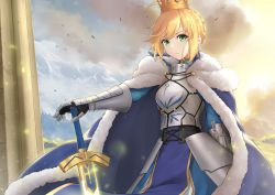 >:( 1girl ahoge armor armored_dress artoria_pendragon_(all) bangs blonde_hair blue_cape blue_dress braid braided_bun breastplate cape capelet cowboy_shot determined dress dutch_angle excalibur_(fate/stay_night) fate/grand_order fate_(series) faulds fur-trimmed_capelet fur_trim gauntlets green_eyes half_updo highres holding holding_sword holding_weapon looking_at_viewer saber sidelocks solo sword tsurupy vambraces weapon