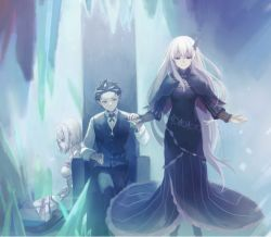 1girl 2girls black_dress black_hair breasts butterfly_hair_ornament button_up_shirt capelet cropped crystal dress echidna_(re:zero) elf emilia_(re:zero) frilled_dress frills hair_ornament hand_holding harusabin long_hair medium_breasts multiple_girls natsuki_subaru outstretched_arms pointy_ears short_hair sitting_on_floor spread_arms thighhighs throne very_long_hair vest white_dress white_hair  rating:Safe score:4 user:FaillenOtaku